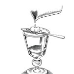 Step 1 - Pour 30ml absinthe into a glass. Place absinthe spoon over the glass. Place sugar cube on the spoon. Slowly trickle 150 to 170 ml water through sugar cube into glass