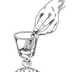 Step 2 - After absinthe gets cloudy, dump sugar into glass.Use the absinthe spoon to break up sugar and dissolve it
