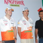 Force India drivers, Adrian Sutil and Paul di Resta at Pebble Street with Ashish Ahuja