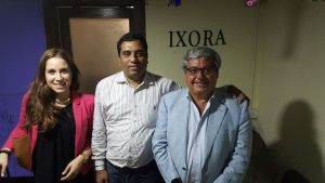 Maria Jovells and Richard Gill from Covides Vineyards and Wineries and Sachin Rane of Ixora Vineyards, who are going to importers and distributors for Xenius