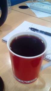 The final brew - note the oils in the cup